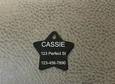 USA Made Laser Engraved STAR Pet Dog Cat Name Tag Ring Included 10 Colors!