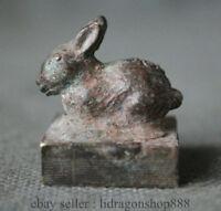 Antique Chinois Bronze Dynastie Zodiaque Lapin Animal Statue Sceau Timbre Sceau