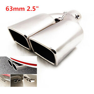 "2.5"" Stainless Steel Inlet Tail Rear Pipe Tip Muffler Cover Universal For Cars"