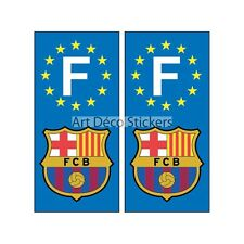 2 Stickers autocollant plaque d'immatriculation Fc Barcelone plaque Fc Barcelone