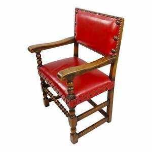 19th century Spanish Revival Armchair w/Red Leather Upholstery circa 1880s