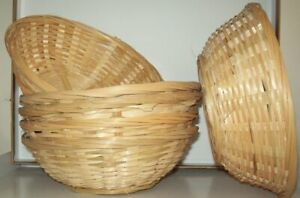 6 x Natural Small Woven Bamboo Round Wicker Basket Storage Bread Chip Snack Bowl
