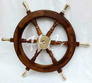 Handmade 18 Inch Wood and brass Ship wheel Boat Steering Nautical Ship wheel