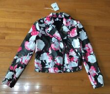 ~~NEW!! Saks Fifth Avenue Scripted Faux Leather Pink Black Floral Print Jacket S