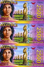 LOT Easter Island, 3 x 2500 (2,500) Rongo, 2011, Polymer, UNC