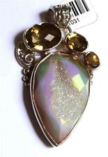 Yellow Citrine & Druzy Crystal Pendant! Solid Sterling Silver 925 Drusy