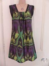Really nice silky black dress Next size 8 green, yellow, purple peacock like!