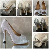 Womans ladies Bridal Wedding Bridesmaid High Heels Prom Crystal Shoes Stiletto