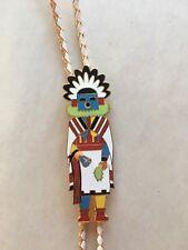 Vintage Native American Kachina Enamel Bolo Tie Hopi WSA made in Tucson AZ 75'