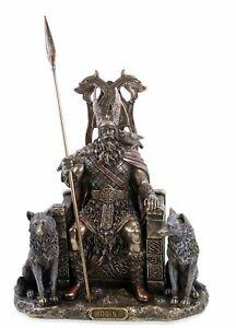 Odin Germanischer Göttervater auf Thron mit Wölfen Geri Freki Figur Wikinger NEU