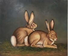 """Oil Painting Hand Painted On Canvas Rabbits 20"""" x 24"""" Signed"""