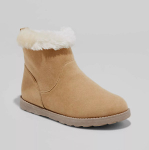 Cat & Jack Girls Haiden Shearling Faux Fur Lined Boots Tan Suede Size 13  NEW