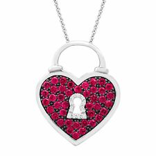 1 ct Created Ruby Heart Pendant with Diamonds in Sterling Silver