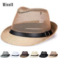 Unisex Men Summer Beach Trilby Fedora Straw Panama Sun Hat Cuban Style Cap New