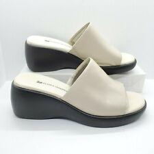 Gloria Vanderbilt Slides Mules Leather Sandal Beige Wedge Heel Womens Size 6 M