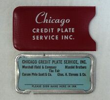 Vintage Chicago Credit Plate Metal Card Marshall Field Mandel Brothers Store