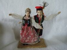 Vintage Krakow Polish Poland Region Boy & Girl Doll Dancer Set 9 1/2 Inches Tall