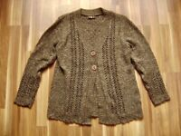 @ D&M Collection @ Strickjacke braun meliert Size XL UK 14 US 12 Gr. 42