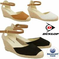 LADIES MEMORY FOAM SANDALS ESPADRILLES SUMMER PLATFORM WEDGE HEEL PARTY SHOES