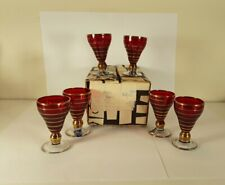 Bohemian Czech  Red   6 Cordial Glasses