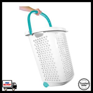 Laundry Hamper Basket With Wheels Clothes Storage Bin Rolling Carts Plastic Bin