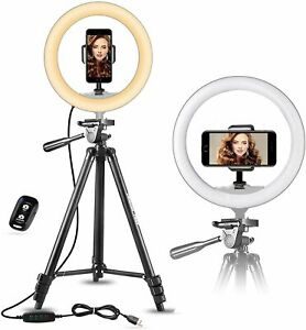 """UBeesize 10"""" Selfie Ring Light with 50"""" Extendable Tripod Stand&Flexible Phone 1"""