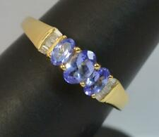 18 Carat Gold Tanzanite and Diamond Trilogy Stack Ring f0442
