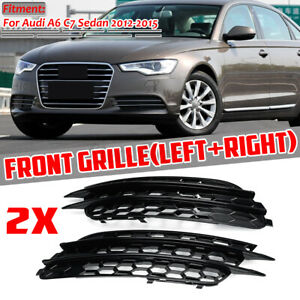 For Audi A6 C7 Sedan 12-2015 Honeycomb Style Mesh Fog Light Grill Grille Cover