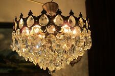Vintage PLAFONIER  French  Basket style  Crystal Chandelier Light Lamp 1940's
