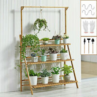 3 Tier Folding Bamboo Plant Stand Pot Shelf Stand Rack Indoor Outdoor Greenhouse