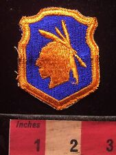 Vintage Patch ~ Native American Indian Silhouette ~ Orange On Blue 69T2