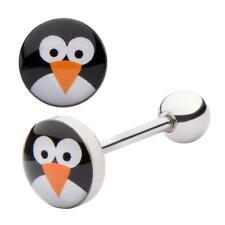 Penguin and panda barbell tongue bar 2 PIECE SET - SALE CLEARANCE