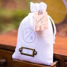"6 Plain White Linen Drawstring Wedding Favor Bags 4""x6"""
