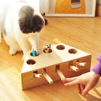 Cat Hunt Toy Chase Mouse Solid Wooden Interactive Maze Pet Hit Hamster 3/5-hole