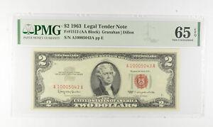 1963 $2 FR1513 (AA Block) Red Seal Graded PMG - 65 EPQ Legal Tender *815