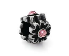 Stainless Steel Flower European Bead With Pink Rhinestones For Charm Bracelets