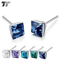 TT 925 Sterling Silver 5mm Square Crystal Stud Earrings (925E04) NEW