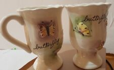 Vintage Set 2 Classic ceramic Coffee Tea Cup/ Mugs with 5 Unique 3D Butterfly