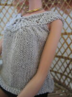 Hand Knit Doll Clothes Silver Top fits 16 inch fashion doll such as Tonner Tyler