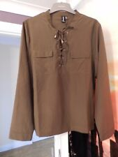 Izabel London, Long sleeve lace up chiffon top, Size 16, Khaki green, With tags