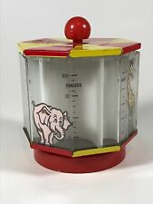 VINTAGE COIN BANK CIRCUS TENT WITH GIRAFFE TIGER BEAR ELEPHANT TIN TOP Made USA