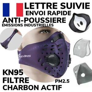 ROCKBROS Masque NEOPRENE Sport Vélo Balade LAVABLE VIOLET +2 Filtre Charbon NEUF