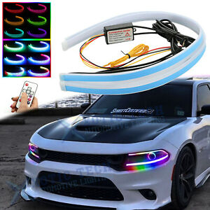 "24"" RGB LED Daytime Running Light Remote Headlight For Dodge Charger Challenger"