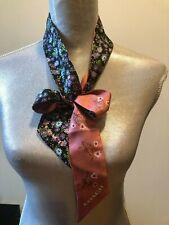 NEW Coach Floral Reversible  Skinny Silk Bandana Scarf Scarves Pink Black Multi
