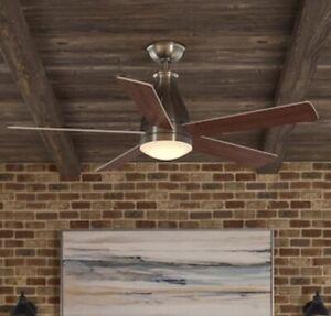 Hampton Bay Cobram 48 in. Integrated LED Indoor Nickel Ceiling Fan