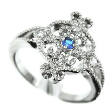 Ladies Blue Center Crystal Silver Rhodium Plated Classic Ring Size 7