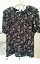 FRANK USHER SIZE S BLACK GOLD ELABORATE HEAVILY SEQUIN BEAD EVENING TOP