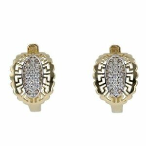 Children - 14ct Yellow Gold Cubic Zirconia Greek Key Stone Set Earrings