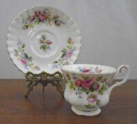 """Royal Albert  Bone China England Montrose Tea Cup and Saucer """"Moss Rose"""" 1960's"""