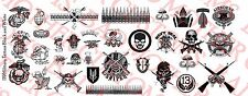 1/6 Scale Custom Tattoos: Military Black and White pack - Waterslide Decals